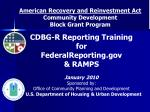 American Recovery and Reinvestment Act Community Development Block Grant Program