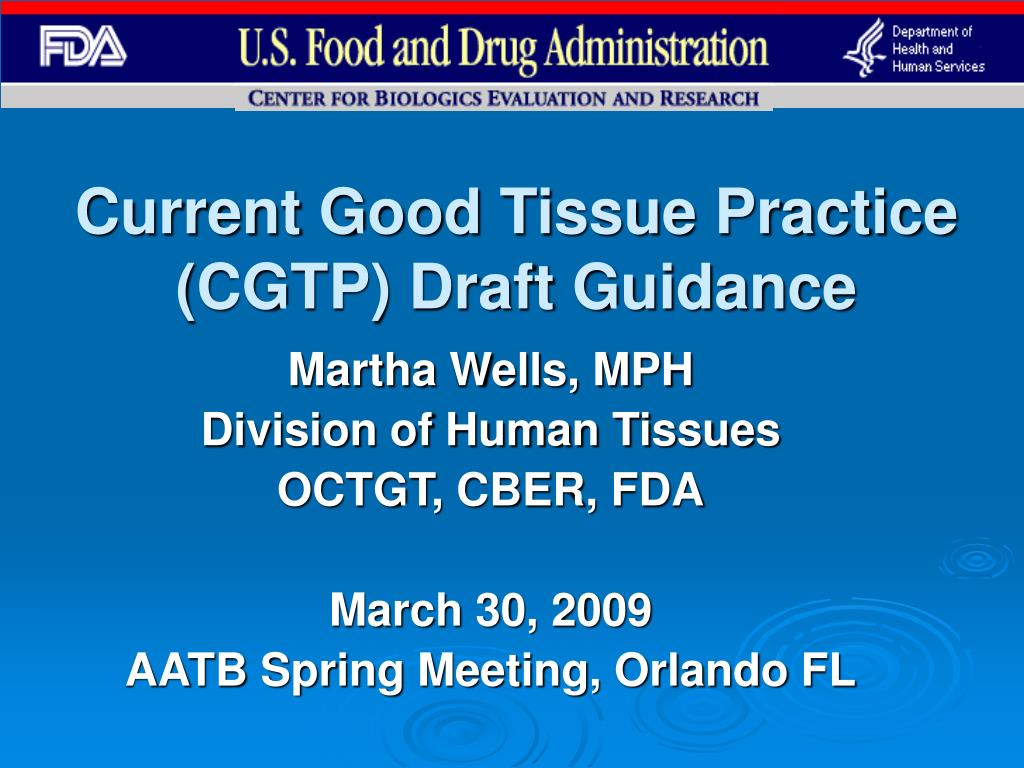 current good tissue practice cgtp draft guidance l.