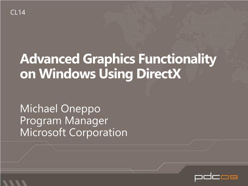 advanced graphics functionality on windows using directx l.