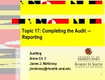 Topic 17: Completing the Audit ― Reporting
