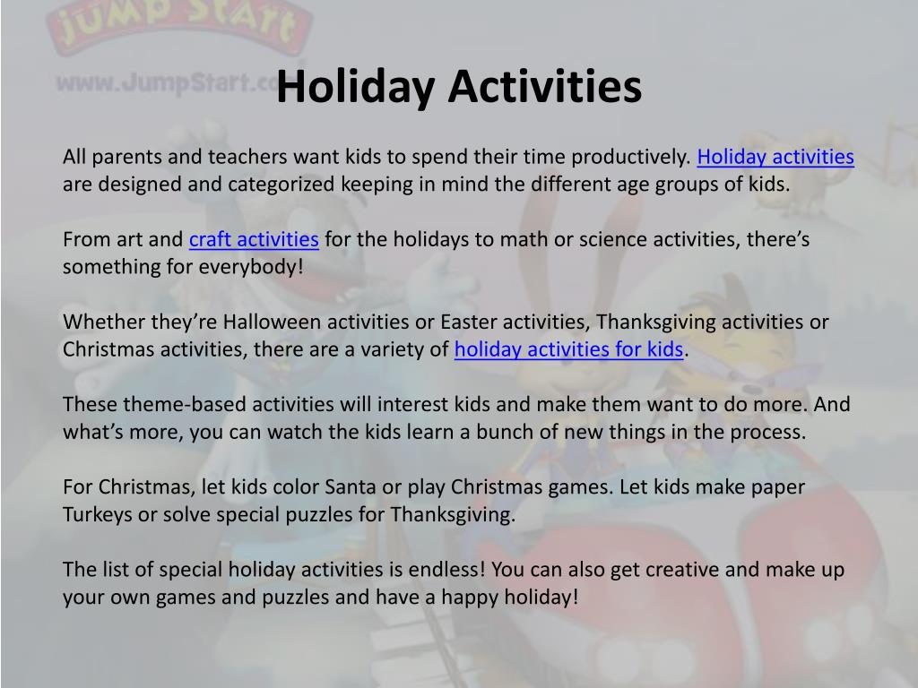 Ppt Holiday Activities Powerpoint Presentation Free Download Id 505358