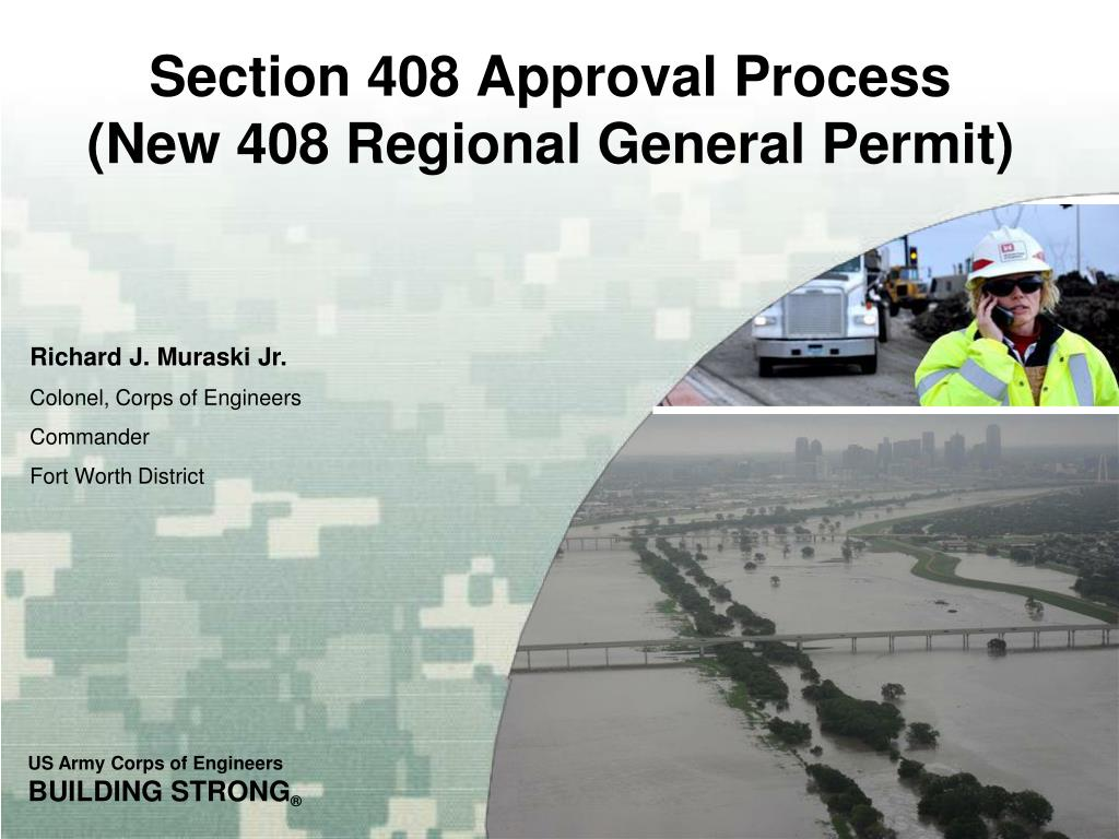 section 408 approval process new 408 regional general permit l.