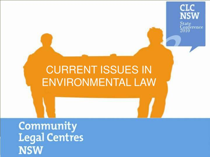 current issues in environmental law n.