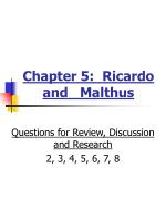 Chapter 5:  Ricardo and   Malthus
