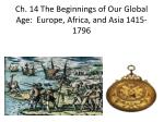 Ch. 14 The Beginnings of Our Global Age:  Europe, Africa, and Asia 1415-1796