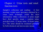 Chapter 4 Urine tests and renal function tests