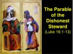 The Parable of the Dishonest Steward  (Luke 16:1-13)