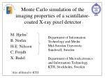 Monte Carlo simulation of the imaging properties of a scintillator-coated X-ray pixel detector