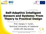 Self-Adaptive Intelligent Sensors and Systems: From Theory to Practical Design