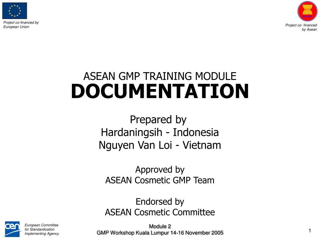 asean gmp training module documentation l.