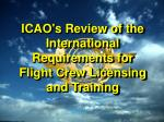 ICAO's Review of the International Requirements for Flight Crew Licensing and Training