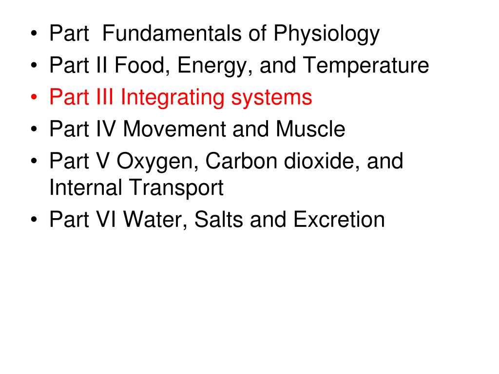 PPT - Part Fundamentals of Physiology Part II Food, Energy, and