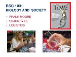 BSC 103:  BIOLOGY AND  SOCIETY