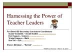 Harnessing the Power of Teacher Leaders