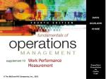 Work Performance Measurement