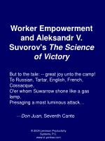 Worker Empowerment and Aleksandr V. Suvorov's  The Science of Victory