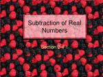 Subtraction of Real Numbers