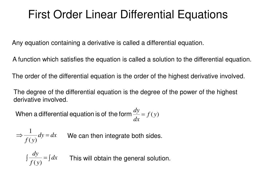 Solve ordinary linear first order differential equations step-by-step