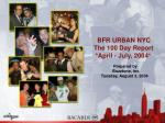 BFR URBAN NYC The 100 Day Report *April - July, 2004* Prepared by Buzztone, Inc. Tuesday, A