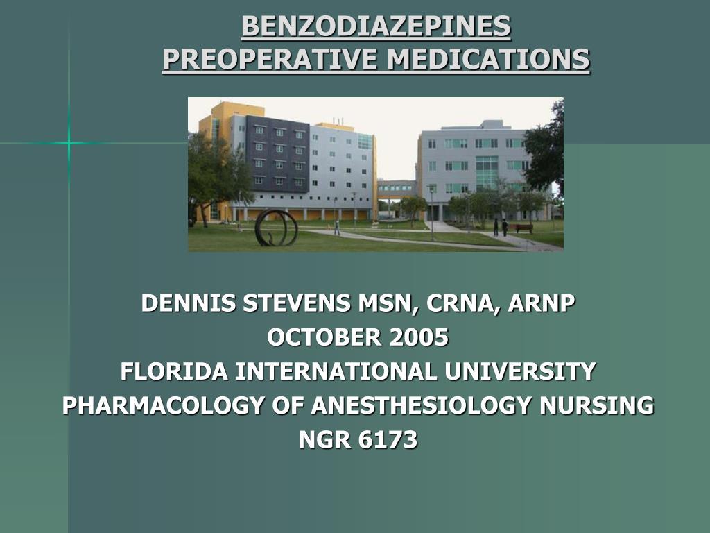 benzodiazepines preoperative medications l.