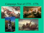 Campaign Year of 1775 - 1776