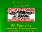 PA Turnpike Southbound Deceleration Ramp, Quakertown Interchange