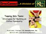 Tapping Into Teens: Strategies for Building an Online Community
