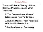 Thomas Kuhn: A Theory of How Science Progresses and What Theory Is A. The Conventional View of Science and Kuhn's Critiq
