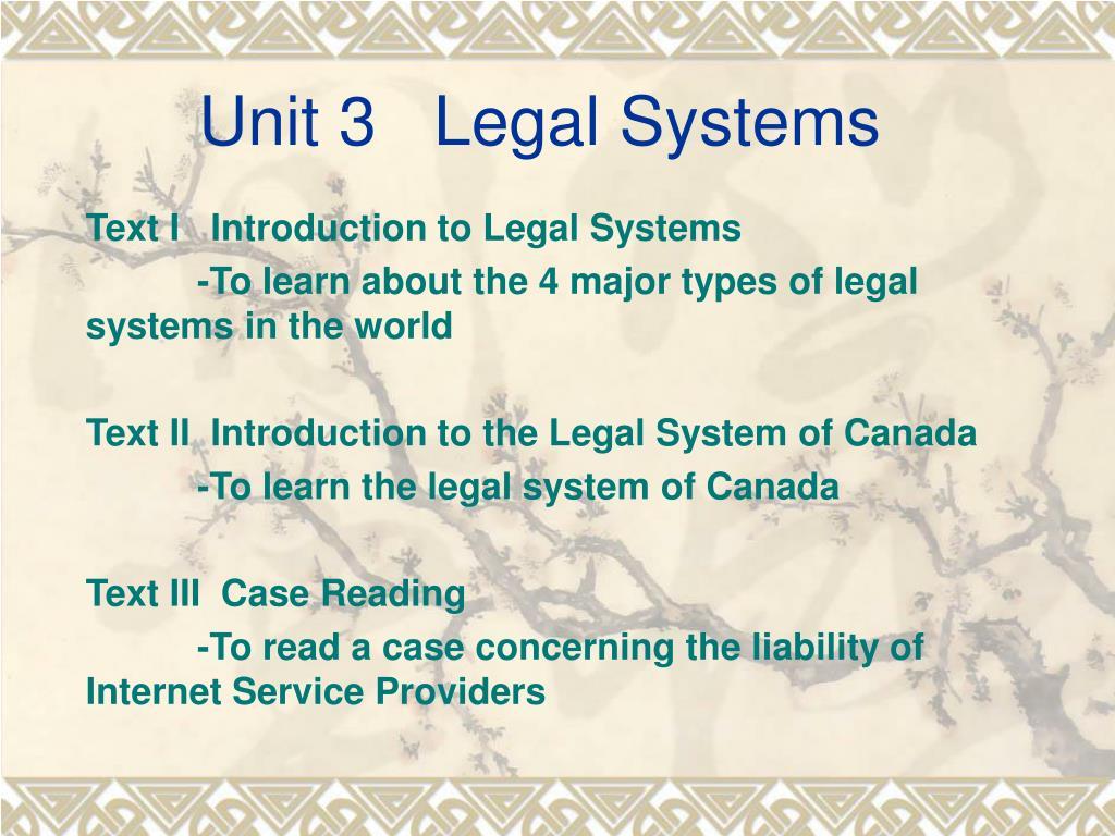 unit 3 legal systems l.