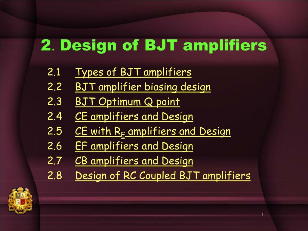 2 design of bjt amplifiers l.
