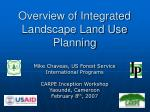 Overview of Integrated Landscape Land Use Planning