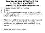 PLAY LEADERSHIP IN AMERICAN AND EUROPEAN PLAYGROUNDS