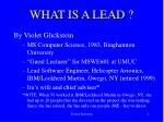 WHAT IS A LEAD ?