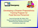 Developing a Disaster-Preparedness Training Program for  Food Service Personnel