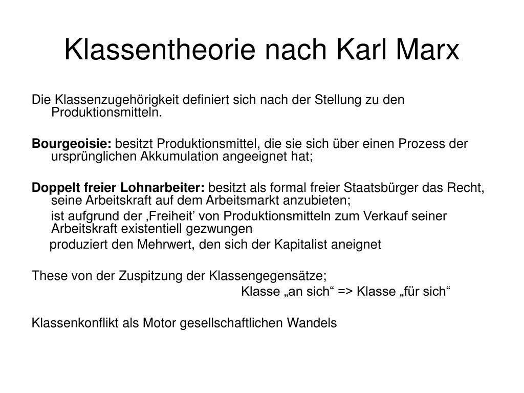 klassentheorie nach karl marx l.