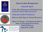 Great Lakes Perspective Samuel W. Speck Chair, Water Management Working Group Council of Great Lakes Governors Chair, Gr