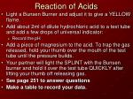 Reaction of Acids