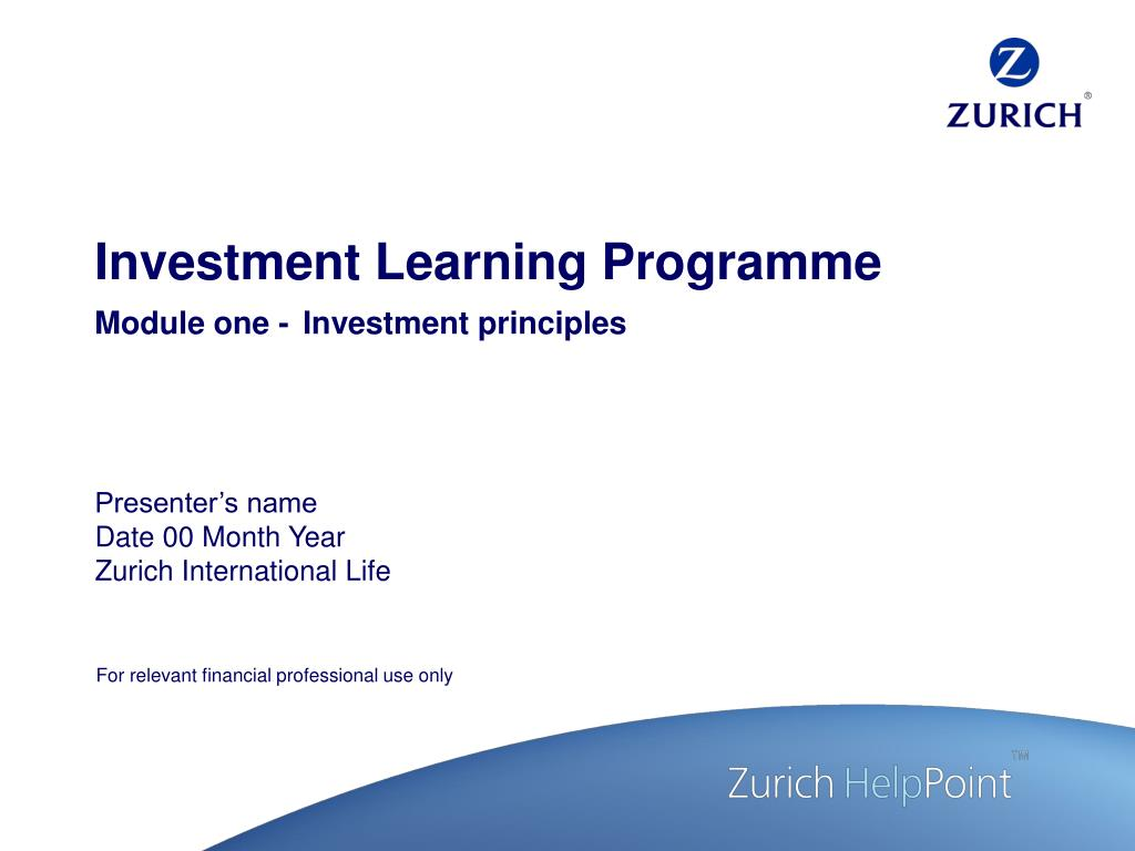 investment learning programme module one investment principles l.