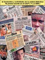 """4) Contenidos y actividades de la unidad didáctica: """"la prensa escrita en el I.E.S"""" ( 1º y 2 ESO )"""