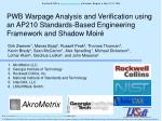 PWB Warpage Analysis and Verification using an AP210 Standards-Based Engineering Framework and Shadow Moiré