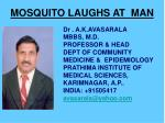 MOSQUITO LAUGHS AT  MAN