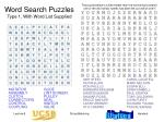 Word Search Puzzles Type 1, With Word List Supplied