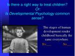 Is there a right way to treat children?  Or: Is Developmental Psychology common sense?