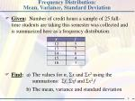Frequency Distribution: Mean, Variance, Standard Deviation