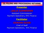 FILING AND PROCESSING RETURNS