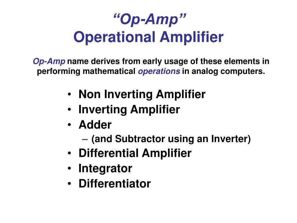 op amp operational amplifier l.