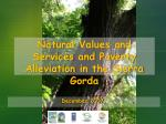 Natural  Values  and  Services  and  Poverty Alleviation  in  the  Sierra Gorda