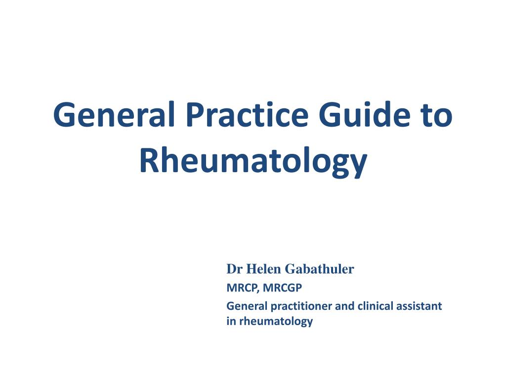 general practice guide to rheumatology l.