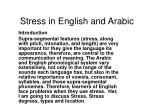 Stress in English and Arabic