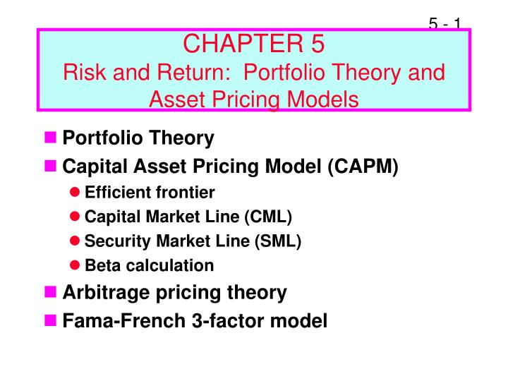 chapter 5 risk and return portfolio theory and asset pricing models n.